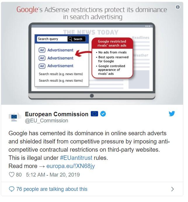 Google fine released on Twitter